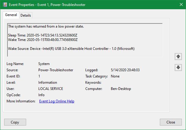 Windows Power event log information