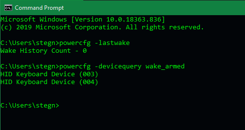 Командная строка Windows Wake Devices
