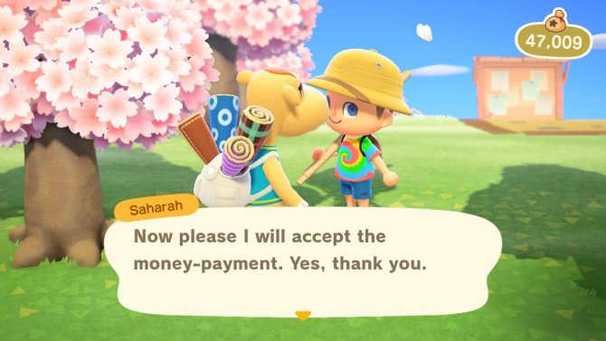 Animal Crossing: New Horizons Saharah visitor