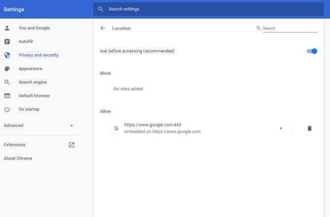 Google Chrome отключить геолокацию