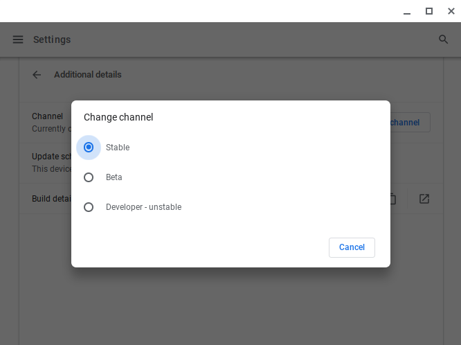 Development channel for Chromebook switches