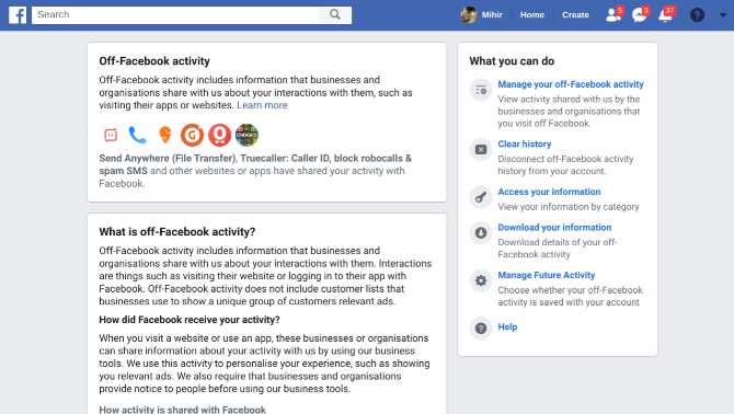 Off Facebook Activity lets you view and control what facebook knows about you through third party websites and apps
