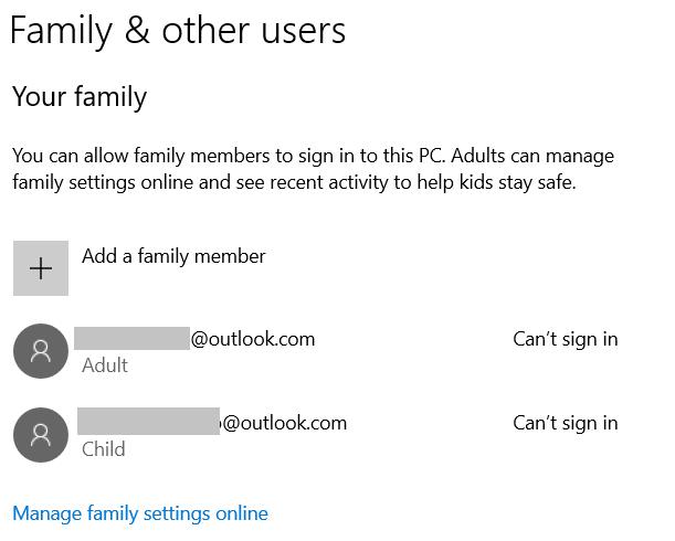 Экран семейных учетных записей в Windows 10