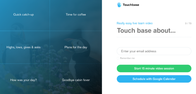 Touchbase forces team members to keep video call meetings on topic and imposes a 15 minute limit