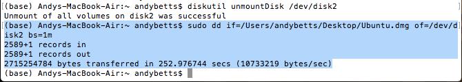 установить Linux на USB-диск Mac