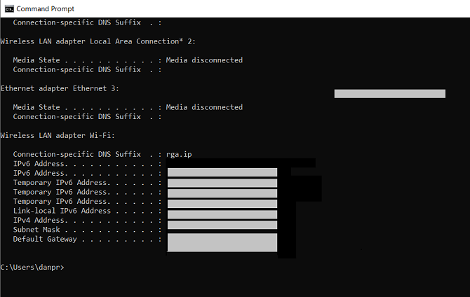 IP address from the command prompt in Windows 10