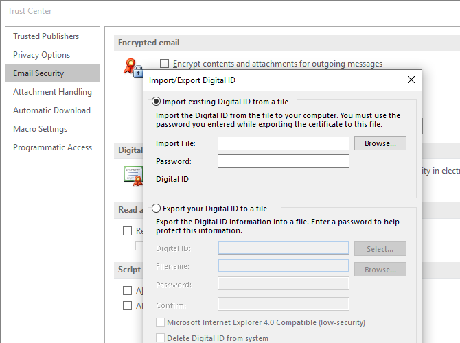 microsoft outlook import security certificates encryption