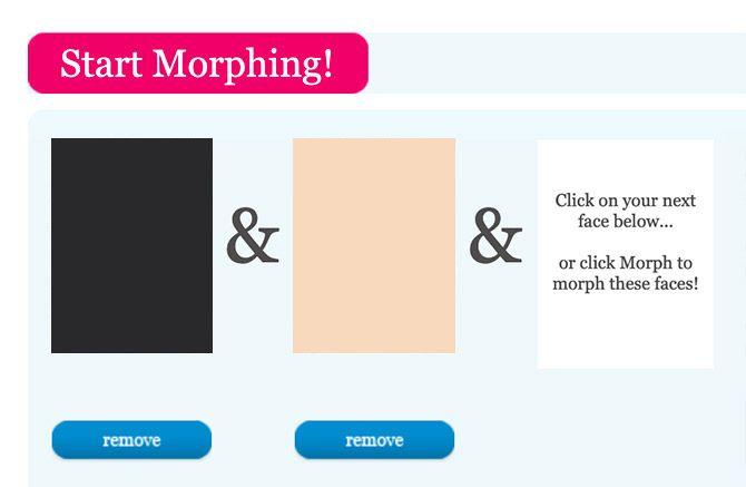 Morphthing сочетает в себе два лица вместе с лицом онлайн Morpher