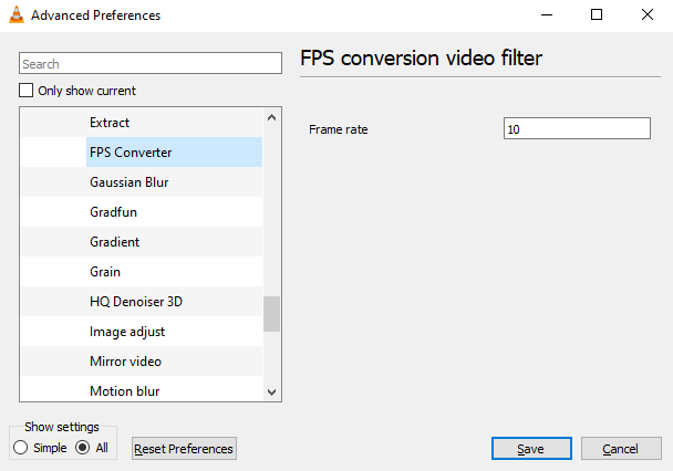 Установите фильтр в VLC для создания гиперлапса