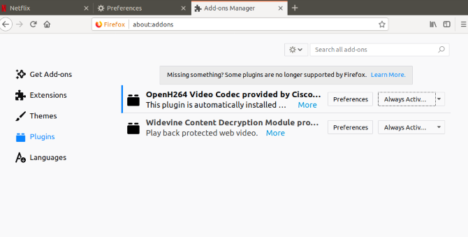 Configure Widevine to display Netflix on Linux in Firefox