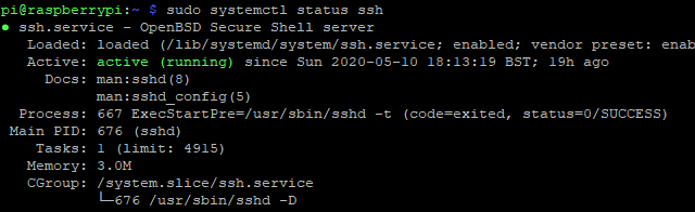 Check the status to ensure that SSH is set up correctly