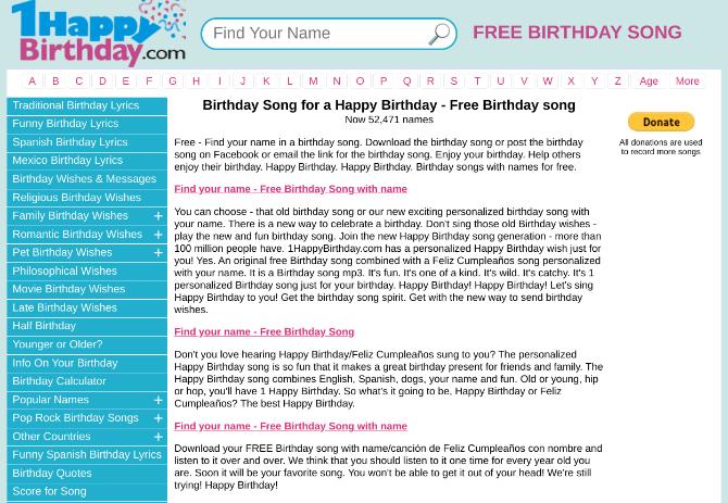 1 Happy Birthday имеет бесплатную песню на день рождения с вашим именем