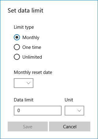 Set Windows 10 data limit