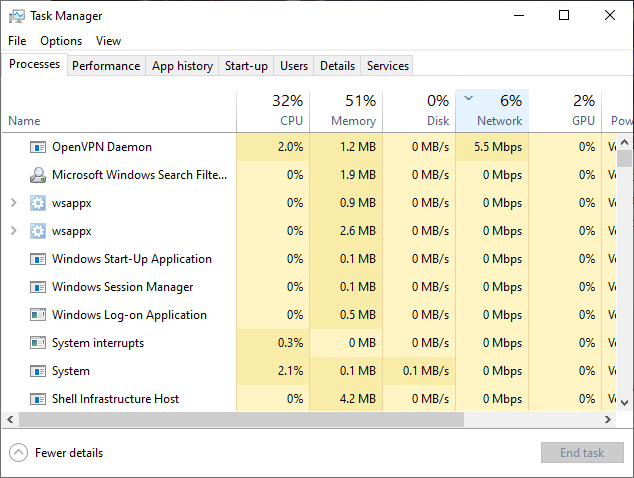 Windows Task Manager shows network usage