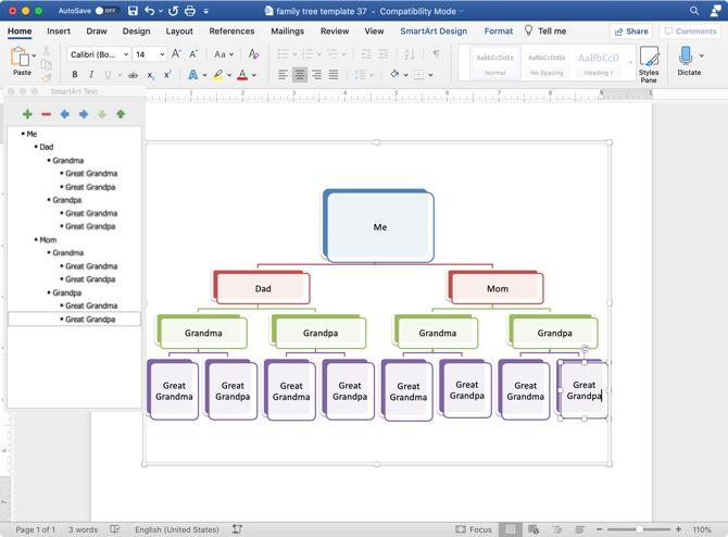 15-Gen Family Tree Template SmartArt Edit Tool-TemplateLab