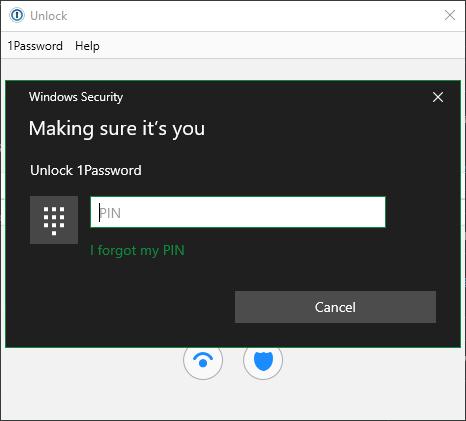 1Password Windows Hello