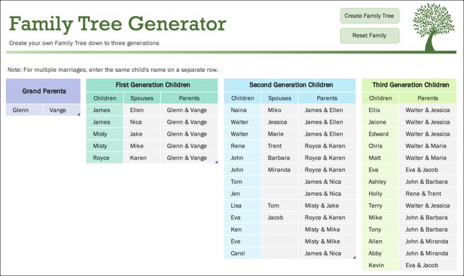 Family Tree Template Generator Tab -MS Office