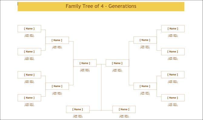 4-Gen Family Tree Template-TemplateNet
