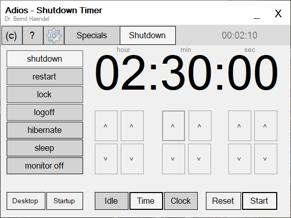 Adios windows shutdown timer
