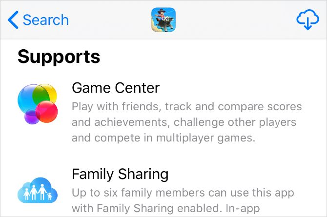 App Store showing Game Cetner support for app