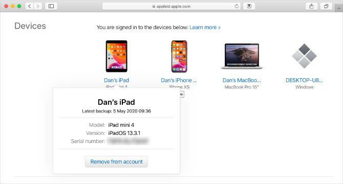 Apple ID website with iPad serial number