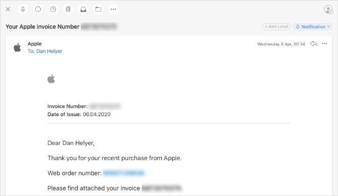 Apple invoice email