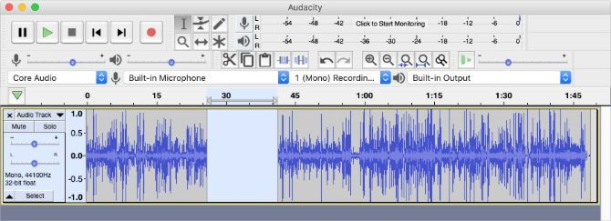 Audacity window showing section cut out of audio track