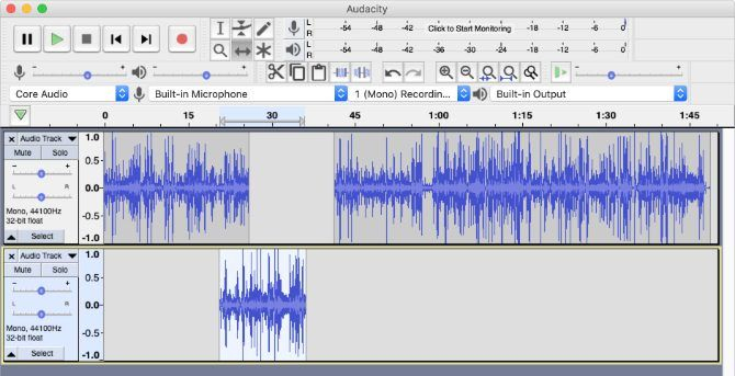 Audio moved across two tracks in Audacity