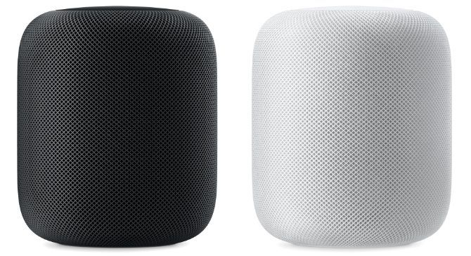 Black and white HomePod side by side