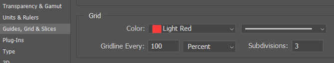 Grid settings in Adobe Photoshop