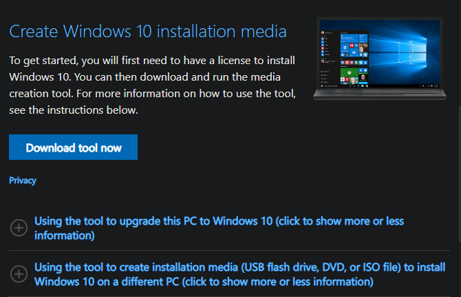 Create Windows 10 Install Media