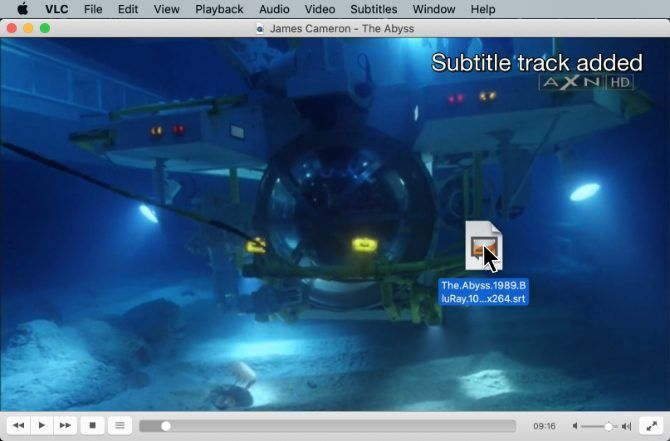 Drag-and-drop subtitle file in VLC