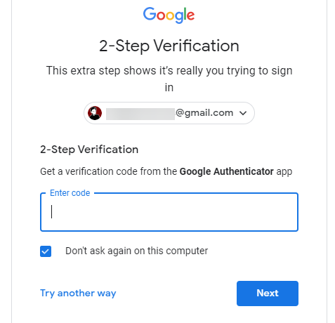 Gmail Two Step Authentication