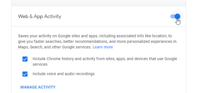 Disabling the web app trackingin Google Activities