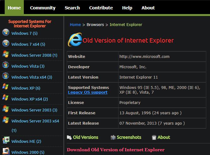 Internet Explorer Old Apps Download