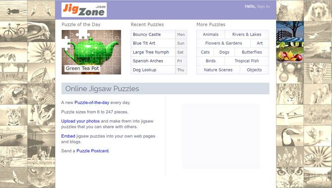 JigZone is an online jigsaw puzzle site
