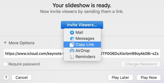 Keynote Live Invite Viewers option