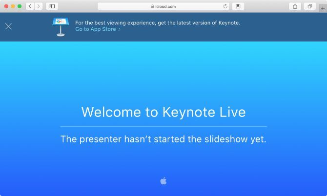 Keynote Live waiting page in Safari