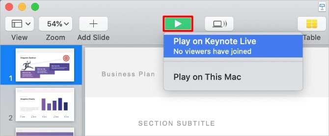 Keynote Play button with Keynote Live option