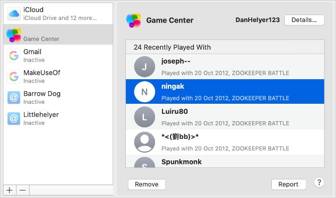 Mac Game Center Preferences showing friends list