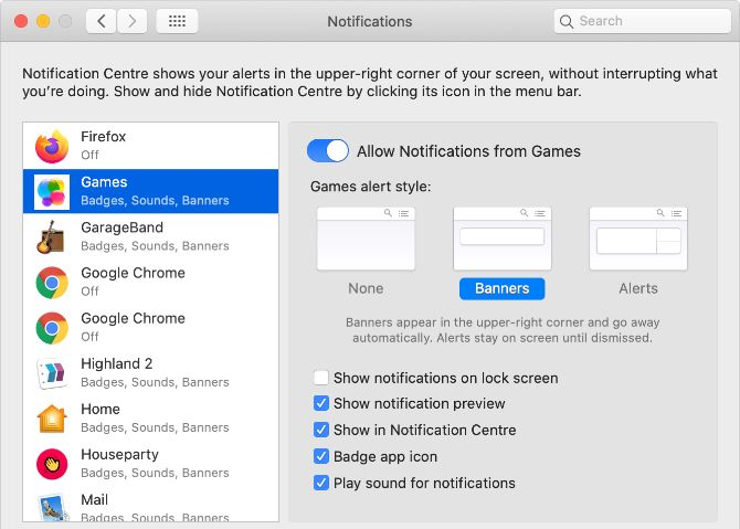 Mac Games Notification Preferences