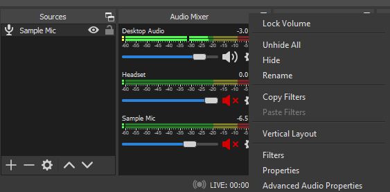 OBS Audio Mixer Options
