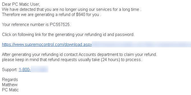 Refund Scam Email
