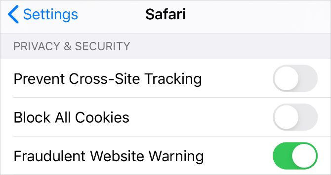 Safari Privacy and Security settings