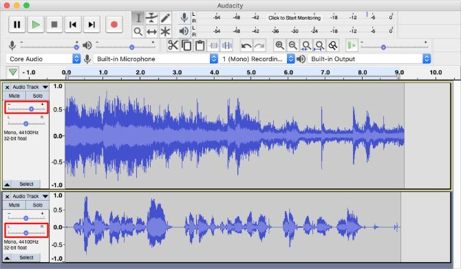 Volume and Pan faders for mixing in Audacity