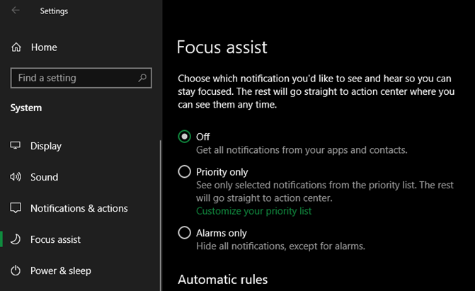 Windows 10 focus assistant
