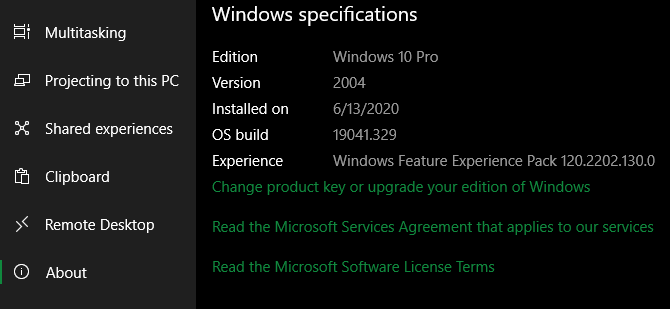 Windows 10 Version Information