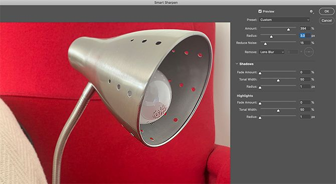 Filters in Photoshop Smart Sharpen