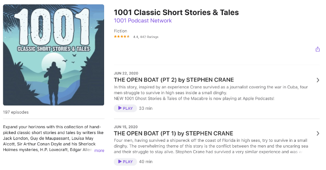 Jon Hagadorn's podcast offers a soothing narration of 1001 Classic short stories and tales