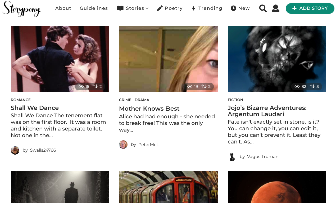 Storypony is a community to read and write free short stories across categories